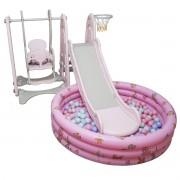 Playground Infantil 4 em 1 Escorregador Balanço Cesta Basquete Piscina Bolinha Importway Rosa
