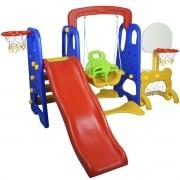Playground Infantil 5 em 1 Escorregador Balanço Cesta Basquete Gol Brinquedo Importway BW-050