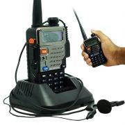Rádio Comunicador HT Profissional Dual Band UHF VHF FM Baofeng UV-5RE Preto + Fone de Ouvido