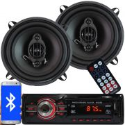 Rádio Mp3 Automotivo Bluetooth Fm Usb + Par Alto Falante Roadstar 5 Pol 110W Rms