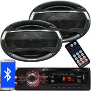 Rádio Mp3 Automotivo Bluetooth Fm Usb + Par Alto Falante Roadstar 6x9 Pol 240W Rms