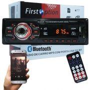 Auto Rádio Som Mp3 Player Automotivo Carro Bluetooth First Option 6650BSC Fm Sd Usb Controle