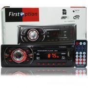 Auto Rádio Som Mp3 Player Automotivo Carro First Option 8650 Fm Sd Usb Controle