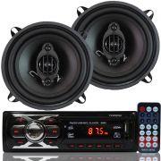 Rádio Mp3 Player Som Automotivo Fm Usb First Option 6660 + Par Alto Falante Roadstar 5 Pol 110W Rms
