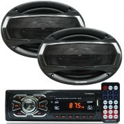 Rádio Mp3 Player Som Automotivo Fm Usb First Option + Par Alto Falante Roadstar 6x9 Pol 240W Rms