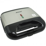 Sanduicheira e Grill Elétrica 750W Lanches Dupla Antiaderente Preta Inox Amvox AMS 500 BLACK