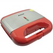 Sanduicheira e Grill Elétrica 750W Lanches Dupla Antiaderente Vermelha Inox 110V Amvox AMS 500 RED