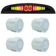 Sensor de Ré Estacionamento 4 Pontos Display Led First Option Kit 18mm Branco