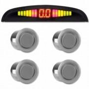 Sensor de Ré Estacionamento Universal 4 Pontos Display Led 18mm Prata