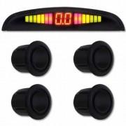 Sensor de Ré Estacionamento Universal 4 Pontos Display Led 18mm Preto Brilhante