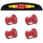 Sensor de Ré Estacionamento Universal 4 Pontos Display Led 18mm Vermelho