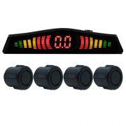Sensor de Ré Estacionamento Universal 4 Pontos Display Led Cinoy 18mm YN-SR002POF Preto Fosco