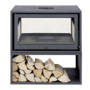Salamandra de alto rendimento a lenha 85 cm Dupla Face Instalação Livre BASIC BOX DUPLA FACE Solzaima