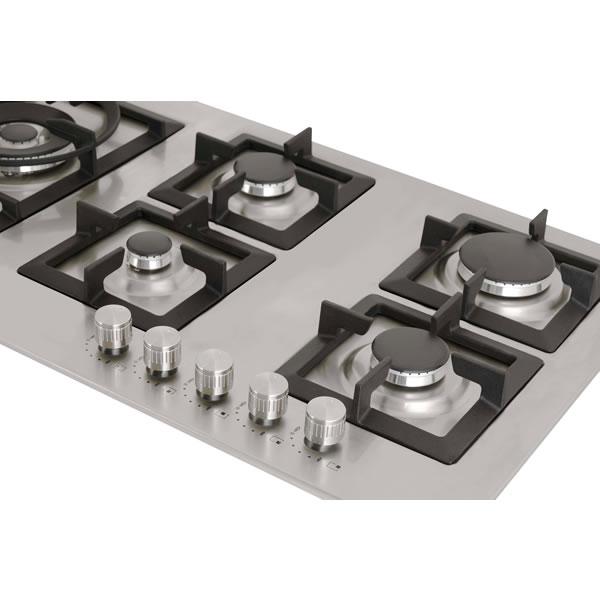 Cooktop a Gás 5 Queimadores Inox 90 cm Quadratto CKG-5Q-90-XQ-3ZEA Elettromec