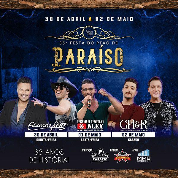 35ª Festa do Peão de Paraíso 30/04 a 02/05/20 - Paraíso - SP