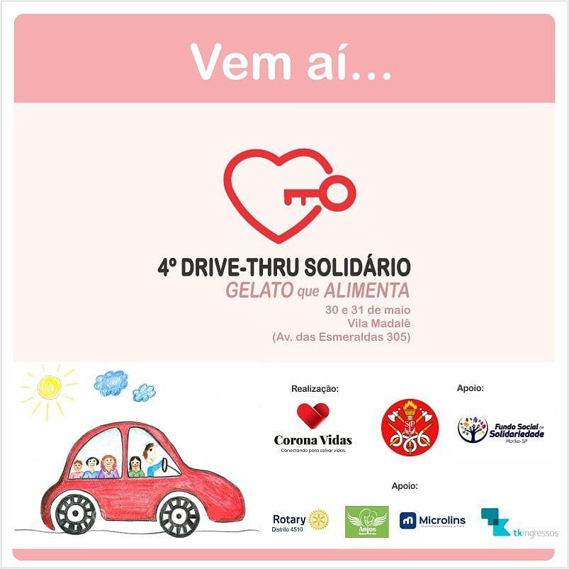 4º Drive-Thru Solidário - Gelato que Alimenta - 30 e 31/05/20 - Marília - SP