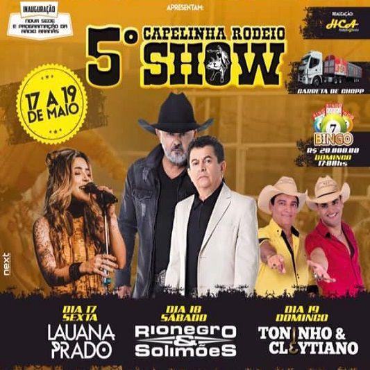 Capelinha Rodeio Show - Domingo - Toninho & Cleytiano - 19/05/19 - Capelinha - MG