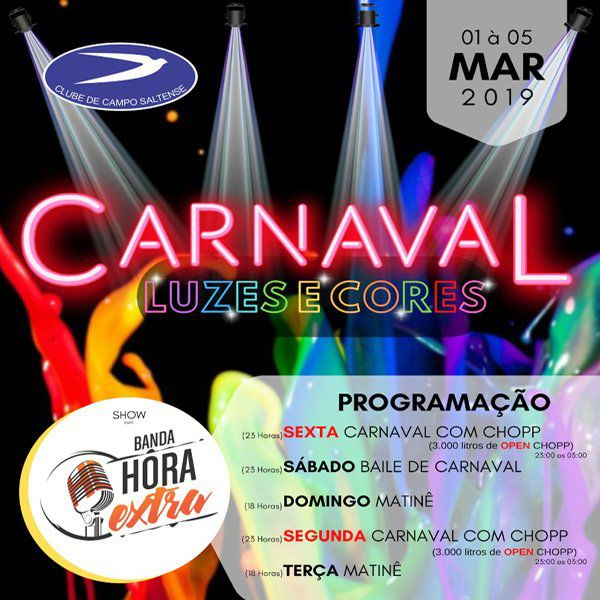 Carnaval Luzes e Cores - De 01 a 05/03/19 - Salto - SP