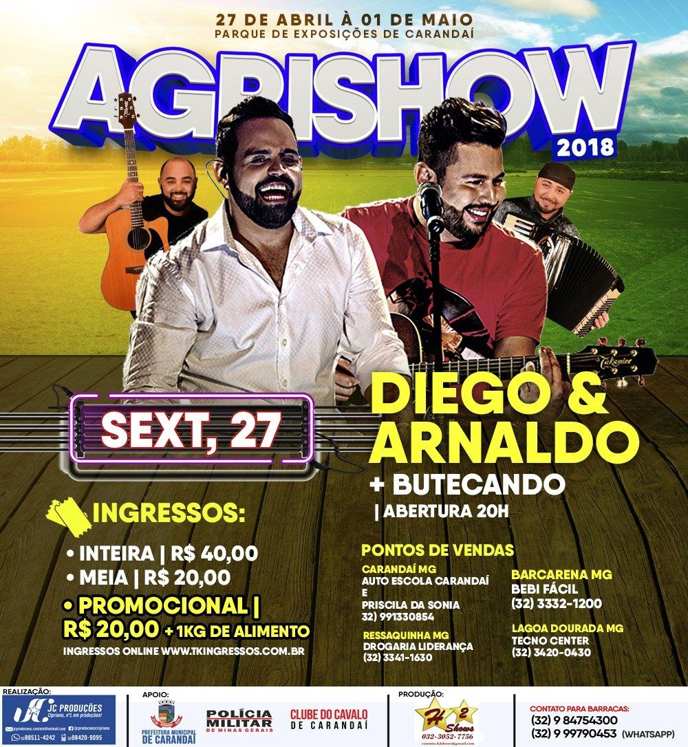 Diego & Arnaldo - Agrishow - 27/04/18 - Carandaí - MG