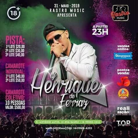 DJ Henrique de Ferraz - Rastro Music - 31/05/19 - Bauru - SP