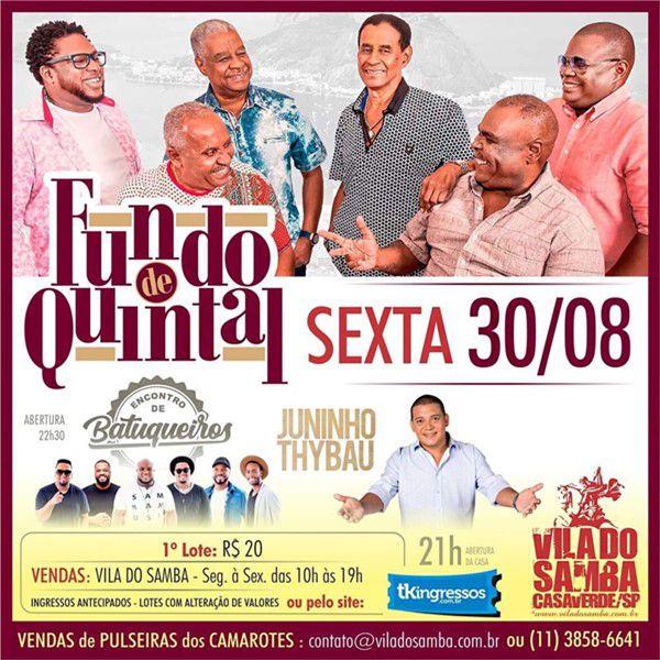 Fundo de Quintal - Vila do Samba - 30/08/19 - São Paulo - SP