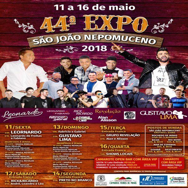 Gusttavo Lima 44ª Expo São João Nepumoceno / MG - 13/05/18 - São João Nepumoceno - MG