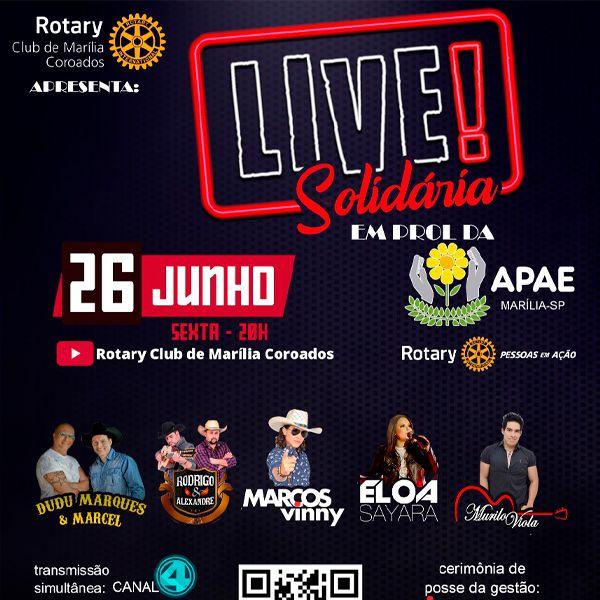 Live Solidária - 26/06/20 - Início às 20:00 h - Marília - SP