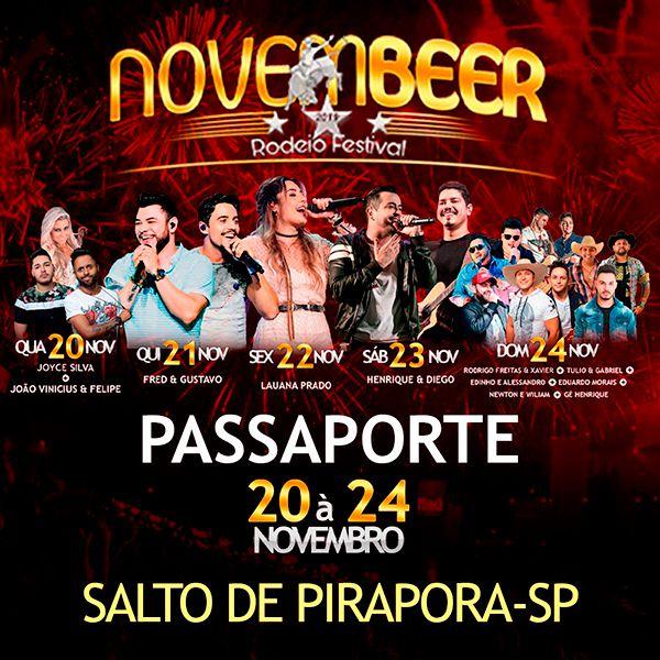 Passaporte NovemBeer Rodeio Festival - 20 a 24/11/19 - Salto de Pirapora - SP