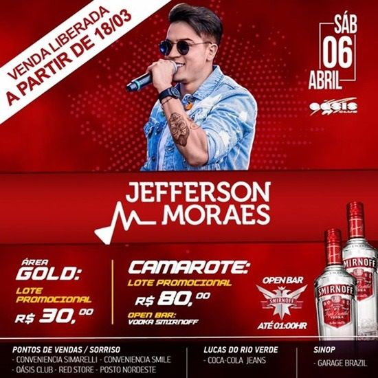Show Jefferson Moraes - Oásis Club - 06/04/19 - Sorriso - MT