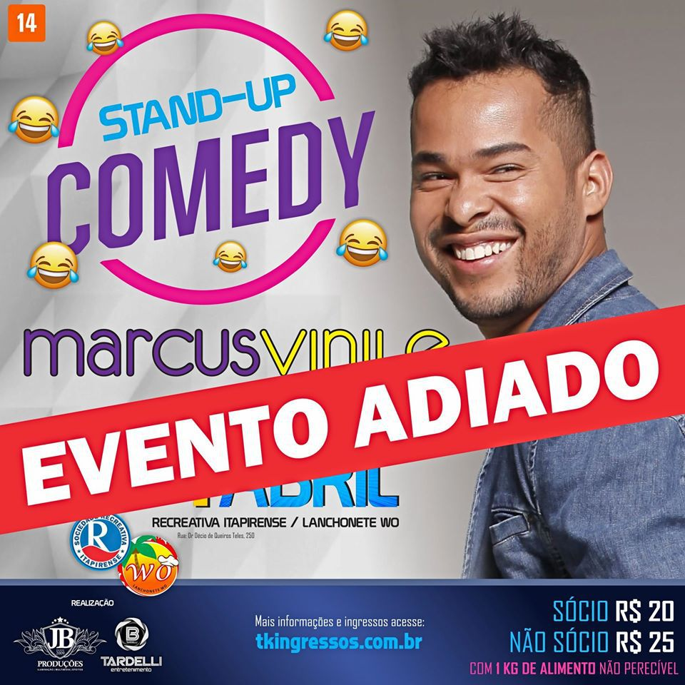 Stand Up Comedy em Itapira com Marcus Vinile - 04/04/20 - Itapira - SP