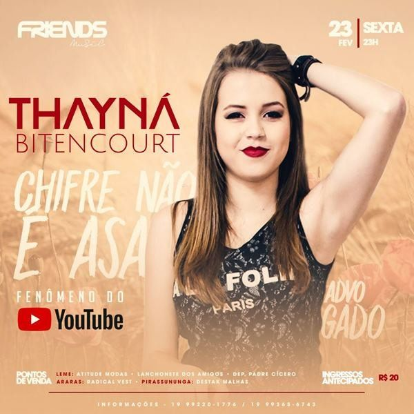 Thayná Bitencourt - Friends Music - 23/02/18 - Leme - SP