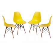 Conjunto 4 Cadeiras Eames Dsw Madeira com Concha em Polipropileno - Várias Cores