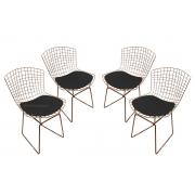 Conjunto com 4 Cadeiras Bertoia Cobre Rose Gold com Assento - Várias Cores