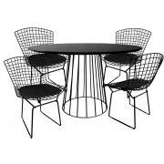 Jogo de Mesa de Jantar Cone Redonda Raiada Preta Brilhante Ø 120cm Tampo Coverglass e 4 Cadeiras Bertoia Pretas