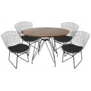 Jogo de Mesa de Jantar Eames Preta 100cm com 4 Cadeiras Bertoia