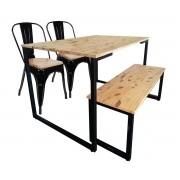 Jogo de Mesa de Jantar New Preta 120x80cm Com 2 Cadeiras Tolix e Banco New com Assento Pinus