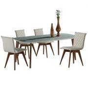 Jogo Mesa de Jantar Bree e 4 Cadeiras Lozen Estofadas