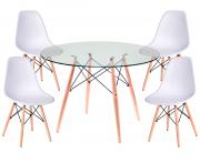 Jogo de Mesa de Jantar Eames Wood Tampo de Vidro 100CM 4 Cadeiras DSW Polipropileno