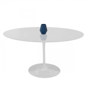 Mesa Saarinen De Jantar Oval Branca Com Tampo Coverglass