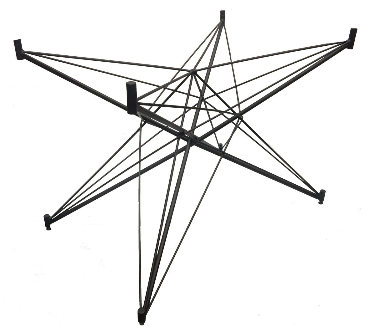 Base de Mesa Estrela Retangular Preta Fosca