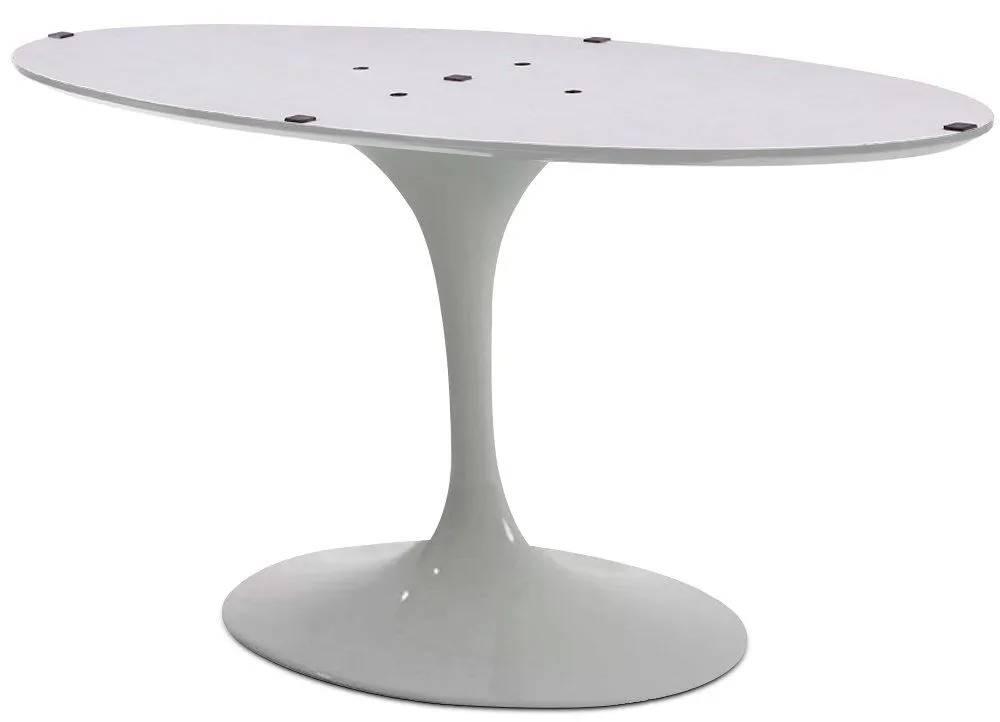 Base de Mesa Jantar Oval Saarinen em Alumínio Branca para Tampos Ovais de 120x80cm