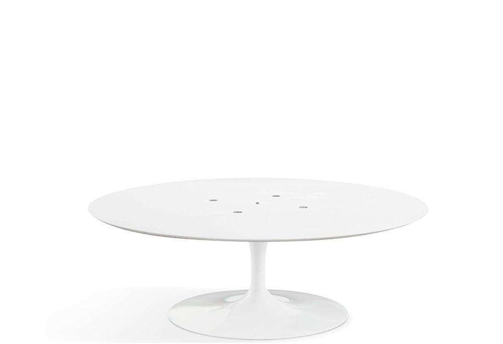 Base de Mesa Saarinen de Centro Oval em Alumínio Branca