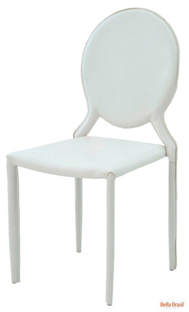 Cadeira Amanda Medalhão em couro ecológico