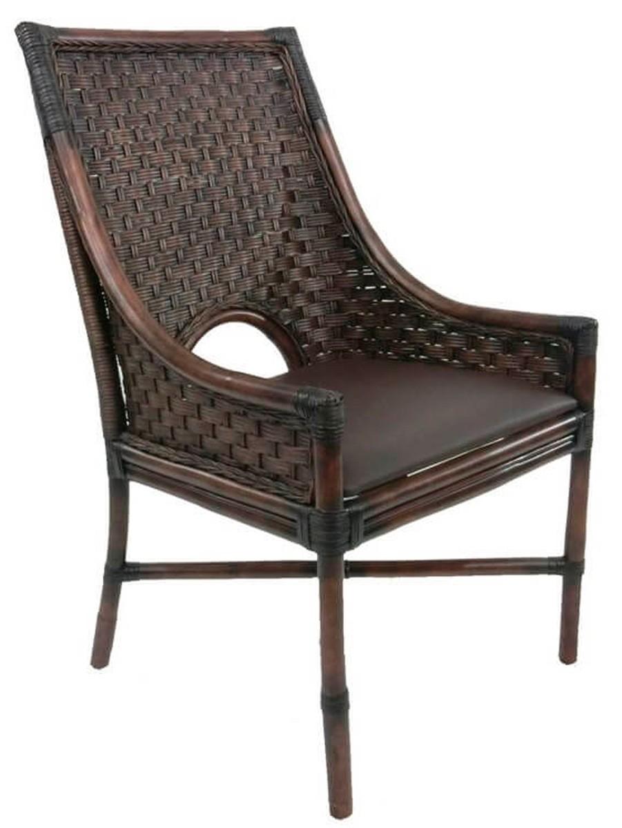 Cadeira Bali Rattan com Assento em Corino
