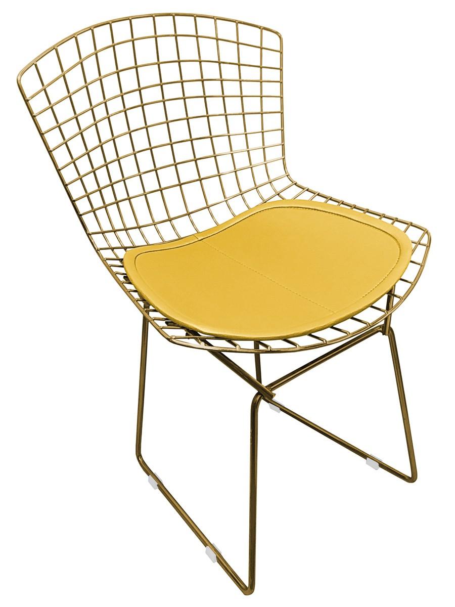 Cadeira Bertoia Tradicional Dourada Vintage com Assento