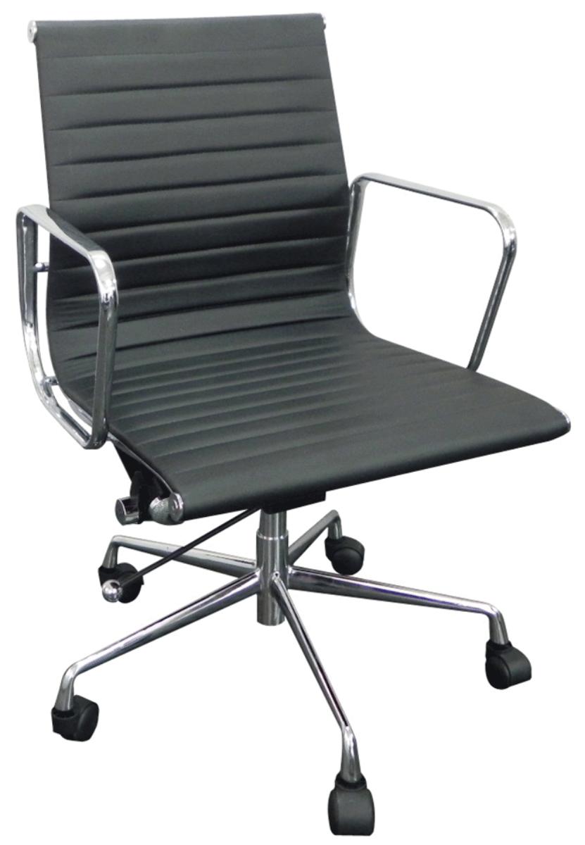 Cadeira Charles Eames Office Esteirinha Corino Baixa Aluminio