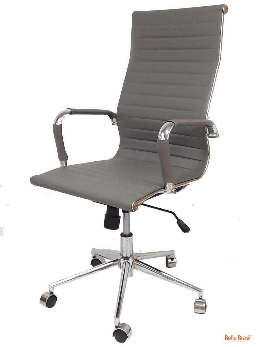 Cadeira Charles Eames Office Esteirinha Corino Alta pé giratória cromado