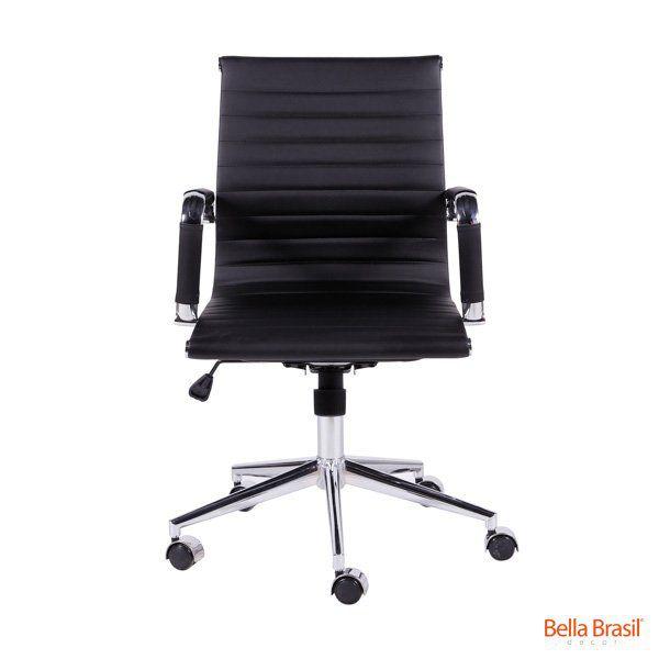 Cadeira Charles Eames Office Esteirinha Corino Baixa