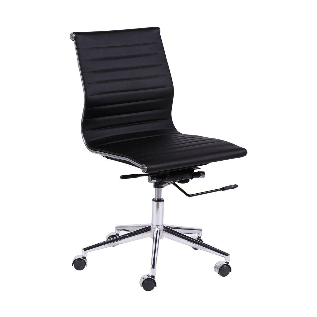 Cadeira Charles Eames Office Esteirinha Corino Baixa sem Braco Preta
