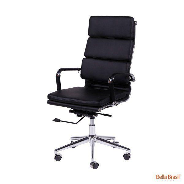 Cadeira Charles Eames Office Esteirinha Soft Alta